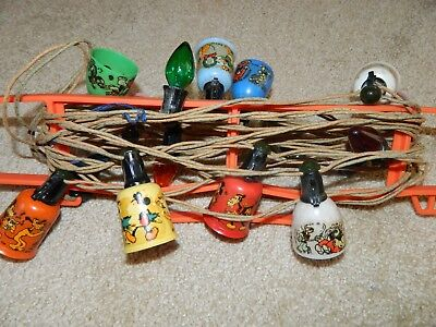 Vintage 1930's Lot of 8 Mickey Mouse Christmas Lights by Noma with Mazda lamps