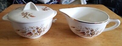 AMERICAN LIMOGES GLAMOUR SUNDALE CREAM AND SUGAR w LID SET  WARRANTED 22K GOLD