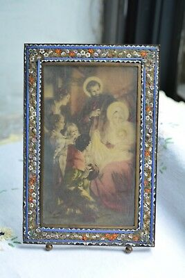 Antique Italian Mosaic Picture Photo Frame Rectangle