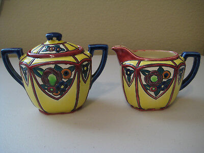 Vintage 1920's MARUHON Japan Floral Circle K Creamer & Covered Sugar Bowl Set