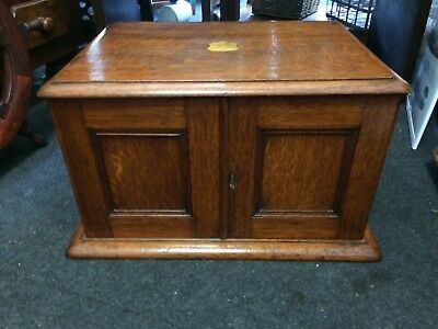 Antique Late 19th C Oak Collector's Cabinet