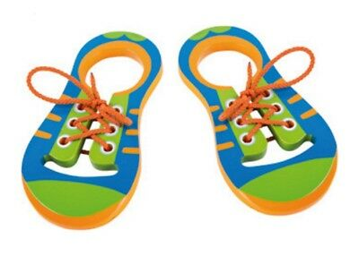 Wooden Threading Lacing Shoe Learning Motor Skills Classic Learn to Tie Shoes