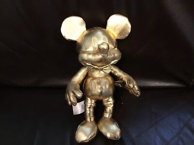 Disney Store Mickey Mouse 90 Years Small Gold Plush NWT