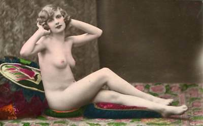 PRETTY DECO NUDE COLORED C. 1910-1920s OLD ORIGINAL postcard