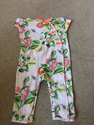 Baby girls Ted Baker age 9-12 months baby grow, neon orange