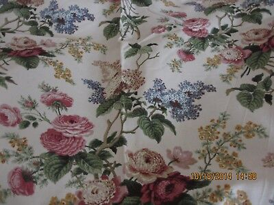 """Waverly Fabric """"emma's Garden"""" Lovely Floral 56"""" X 8.4 Yds. Heavy Cotton Unused"""