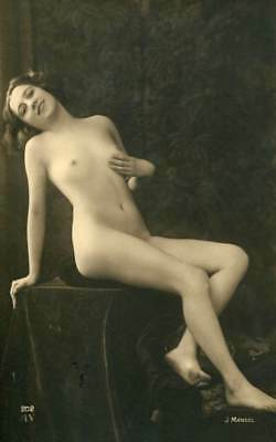 PRETTY NUDE MODEL J. MANDEL C. 1910-1920s OLD ORIGINAL postcard