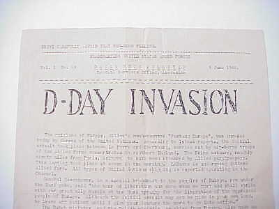 ORIGINAL WWII Ascension Island D-Day INVASION June 6, 1944 Newsletter U.S. Army
