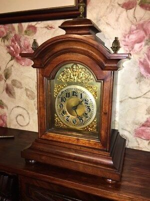 Antique mantle clock bracket clock eight day walnut colour brass finials