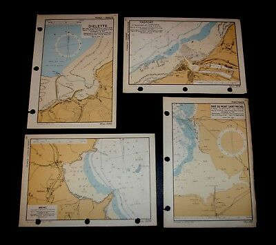 4 vintage WW2 military D-DAY INVASION Maps / Plans of COASTLINE of FRANCE - 1943