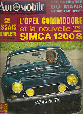 L'automobile 255 1967 24H Du Mans Indy 500 Simca 1200 S Coupe Opel Commodore
