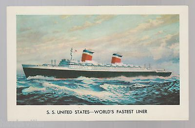 S.S. SS United States Cruise Liner Postcard 1950 60s Colored Unused Rich Krome