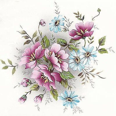 Gladis Pink Blue Wild Flowers Select-A-Size Ceramic Waterslide Decals Dx