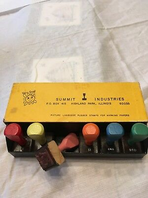 Vintage Picture Language Rubber Stamps For Marking Papers 1968