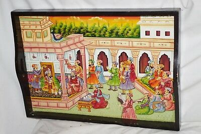 Vintage Wood Serving Tray Hand Painted Scene