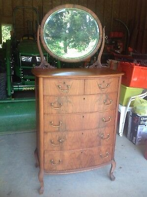 Antique/Vintage Bow Front Chest Of Drawers With Mirror Very Beautiful!!