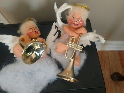Vintage Annalee Mobilite Christmas Angels on Clouds with French Horn & Trumpet