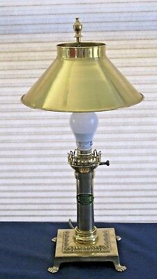 Vintage Brass PARIS ORIENT EXPRESS ISTANBUL Table Desk Lamp Adjustable Shade