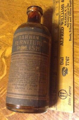 LARKIN (Soap Co) Furniture Polish Antique Corked Bottle W. Label & Contents Rare