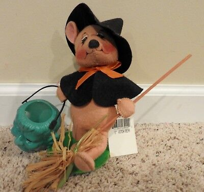 """Annalee Halloween Bear Dressed As A Witch 8"""" Tall Euc"""
