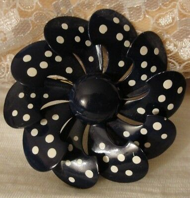 Vintage Navy Blue And White Polka Dotted Enamel Large Flower Brooch Pin