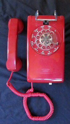 Vintage 1978 Bell System Western Electric Cherry Red Wall Mount Rotary Telephone