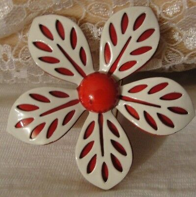 Vintage Red And White Enamel Large Flower Brooch Pin