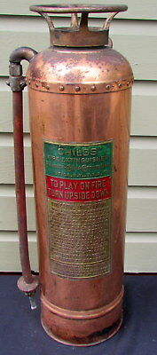 Vintage Copper & Brass Childs Co. Fire Extinguisher With Riveted Sides