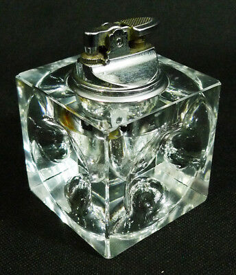 Clear Glass Dimpled Square Cube Table Lighter