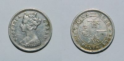 HONG KONG : SILVER 10 CENTS 1885 - Queen Victoria