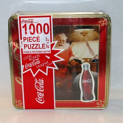 "Coca Cola 1000 Piece Santa Jigsaw Puzzle in Collectible Tin 20""x27"" Read"