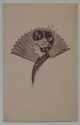 Antique Postcard Japanese Woman Traditional Fan Artist Signed Cobb Shinn? Unused