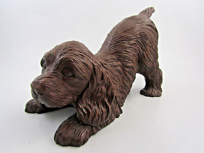 Vintage Cocker Spaniel Dog Figurine Crushed Pecan Shell carved Red Mill