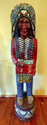 Vintage Six Foot Wooden Cigar Store Indian Chief Sculpture by Ralph Gallagher