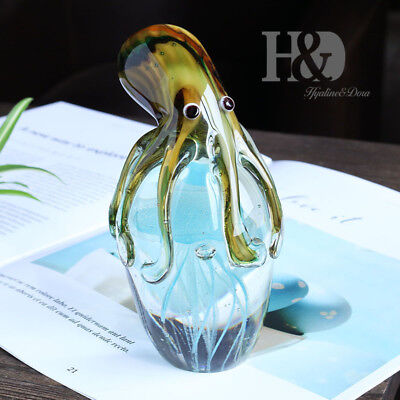 Glass Jellyfish&Octopus Animal Wedding Art Glass Blown Crafts Home Figurine Gift