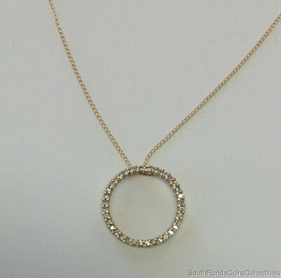"""Estate Jewelry 0.50 Ctw Circle Pendant Necklace 14K Yellow Gold 18"""" Long"""