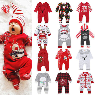 UK Christmas Newborn Baby Girl Boy Santa Stripes Top Romper Pants Outfit Clothes