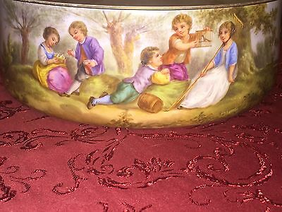 19th Century Large French Porcelain Bowl Children Playing Countryside  Exquisite