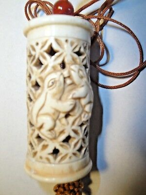 Vintage Bone Inro Netsuke Box Hanging Charm Case Wood Storage Pouch LOVE BUNNIES