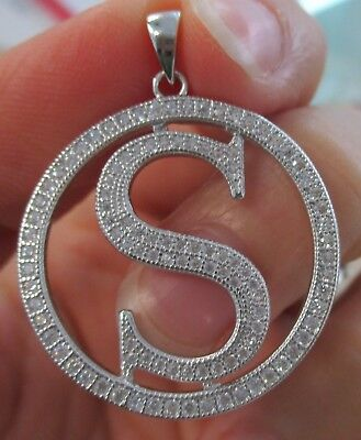 "925 STERLING SILVER Big Initial Letter ""S"" in Round Bling cz Pendant Women Teen"