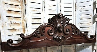 Achitectural scroll leaves pediment antique french carved wood salvaged crest