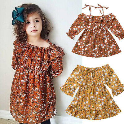 USA Princess Kids Baby Girls Dress Party Pageant Wedding Gown Floral Warm Dress