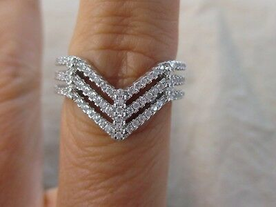 "925 STERLING SILVER Triple ""V"" BLING Cz Ring size L N P Women Teen Xmas GIft"