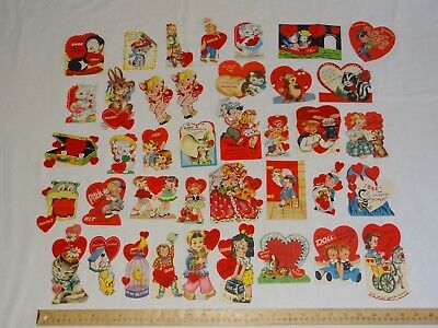 37 Vintage 1950s or 1940s Valentine Cards A-meri-card Litho USA CPC Unbranded