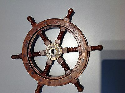Solid Brass Wood Nautical Collectable Large Ship Wheel 12 Inch  (Cz)