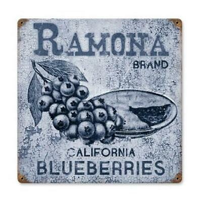 BLUEBERRIES Country Farm Crate Painted Print Sign Kitchen Blueberry Home Decor