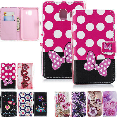 Wallet Leather Flip Stand Silicone Phone Cover Case For Samsung Galaxy J4 2018