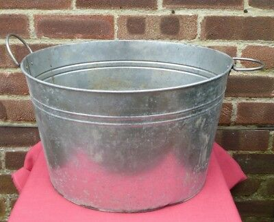 Vintage Rustic Galvanised Bucket Tub Garden Planter Flower Pot Log Holder