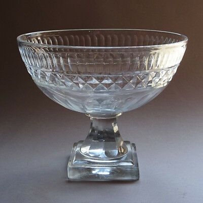 Antique Voneche Empire Ca. 1810-20 Cut Crystal Glass Pre Baccarat Footed Bowl
