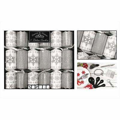 6 Deluxe Glitter Christmas Crackers Family Xmas Party Dining Table White Silver